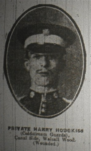 Private Harry Hodgkiss (Coldstream Guards) Canal Side, Walsall Wood (wounded)