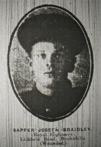 Sapper Joseph Braidley (Royal Engineers) Lichfield Road, Brownhills (Wounded)