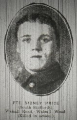 Private Sidney Price (South Staffords) Walsall Road, Walsall Wood (Killed in action)
