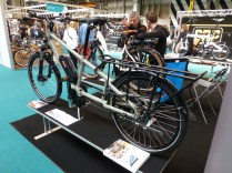 Immense, tank-like German cargo bike, with electric assist. Presumably comes with forklift to get it in the garage.