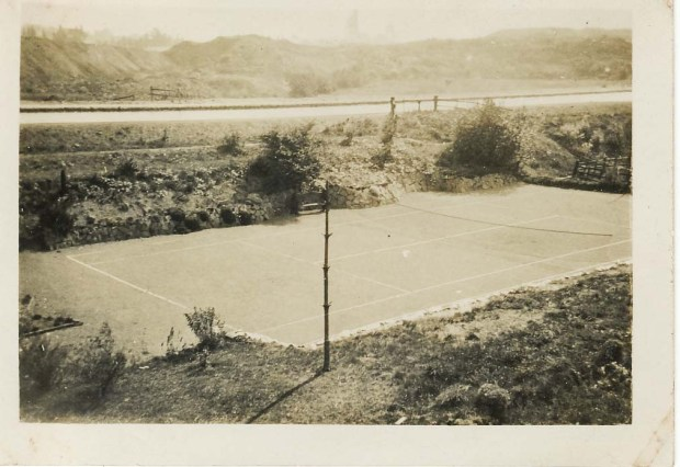Clayhanger backgarden Tennis court Ernest Jones