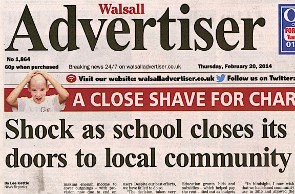 Thanks to Lee Kettle at the Walsall Advertiser, this important local issue has received a wide exposure.