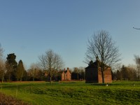 At Croxall Hall, the dovecote in the forecround is said to be 16th century.