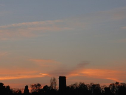 The iconic skyline of Shenstone from the east. Note the second tower.