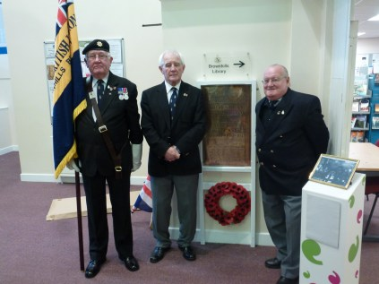 Mr Brian Bennett, Mr John Bird , and Mr Bill Wright, key movers in the restoration of the plaque. Image kindly supplied by David Evans.