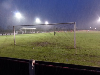 The second half brought snowfall where the players bravely fought on. Image kindly supplied by David Evans.