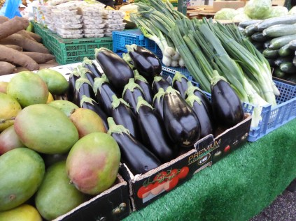 The stallholder was polishing - yes polishing - these aubergines as I passed early doors.