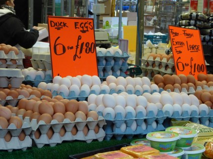 Duck eggs are lovely, but too fragile to cart around Birmingham!