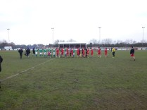 Both teams were keen to shake hands before starting what turned out to be a sporting and well-played game of football.