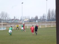 This time, Brocton forging forward to attack the Walsall Wood goalmouth, met by good defensive work.