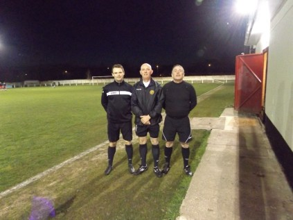 This evening's match officials kindly pose for the photo before the match got under way