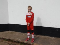 Walsall Wood mascot. Miss Mollie Stretton ready to lead the players on to the pitch to start the game