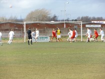 A corner kick to Walsall Wood, early in the match