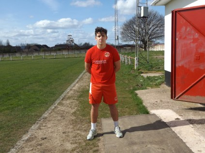This season's leading goal scorer for Walsall Wood, Joey Butlin, kindly posing for a souvenir photo.