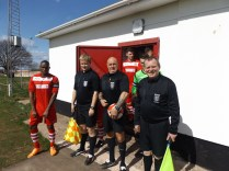 Todays, match officials, Messrs Sarginson, Magness and Hale just about to lead the teams out.