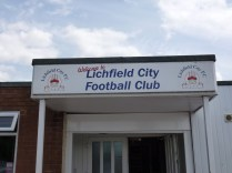 Walsall Wood FC first team vs Lichfield City at Brownsfield Lane ground 18 July 2015 conditions. Bright sun, moderate breeze blowing down the field Pitch: aptly named.