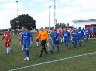 Visitors, Bardon Hill in blue, Walsall Wood in their new seasons strip