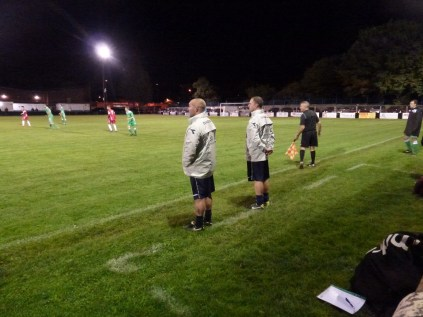 Alvechurch manager and colleague closely watching the action.