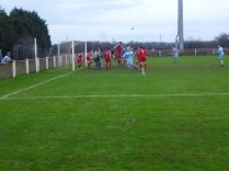 Nearly half time and the Wood attack Quorn goalmouth again, but to no avail
