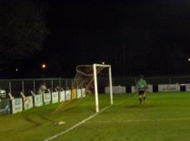 Wood's first salvo goes just wide as Loughborough's 'keeper looks on, in some amazement .
