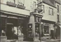 Old shops in Lichfield Street c 1870. These stood on the site of the present Art Gallery