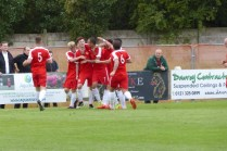 The Wood celebrate. Super team spirit by the home team was evident throughout this contest today