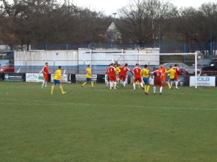 Tividale's first, and very odd goal , from among this mass of fairground dodgems.