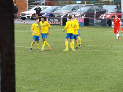 Tividale first goal moment of rejoicing, with an interesting backdrop