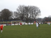 Second half attack by the Wood sees players leap high. A fine ,earthy football match today