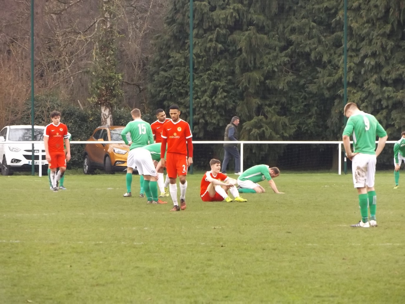 The final whistle offers players a moment to reflect on the physical, competitive nature of today's contest