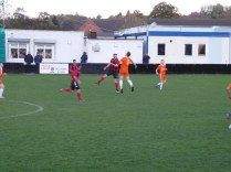 Head work. Here, a Pelsall header achieves a nifty flick on to launch a surprise attack. Bostin!