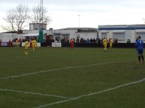 Early in the first half- no glasses of lemonade visible among the home supporters- yet. Staffords goalkeeper played his heart out today and made a save of the season from a vicious snap shot.