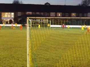 The Wood score another goal, seen in the distance from the shelter of the stand. Later in the second half