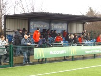 A stubborn huddle of Walsall Wood spectators sat sitting in the stand, like Emperor penguins in the wind, vastly outnumbering Lichfield's spectators and yet to make their way to the warmth of the bar. The Wood, a choir of angel voices, ever singing. More so after refuelling.