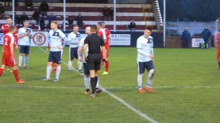 A brief moment in the second half for the referee and Studley captain to engage in private matters of mutual interest Then on with the game.