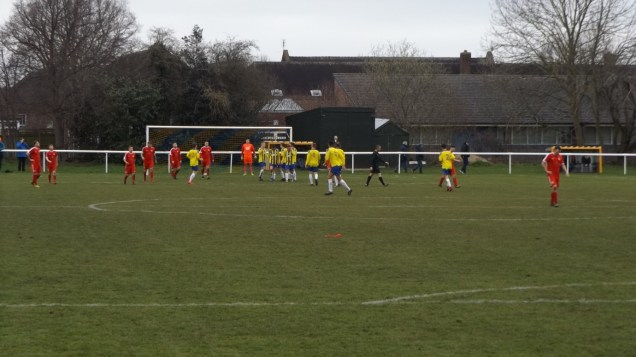 Understandable elation for the Uttoxeter players after scoring their second, shock, goal
