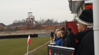 The new viewing platform, with spectators . A very good crowd watched today's game. So good to be able to enjoy local soccer on a calm Saturday afternoon in late and persistent winter.
