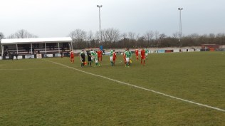 The match ends. All the players shake hand with their opponents in this positive, well-played sporting encounter. A credit to all the players and a fine example of non-league football.