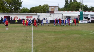 Worcester City played in blue strip today as they shake hands before the thrilling contest gets under way. FA cup match. We know what to expect, of course