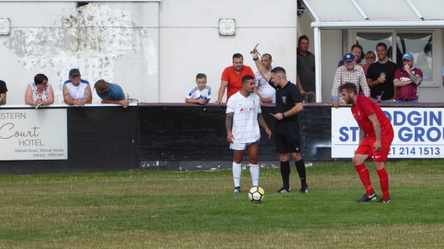Second half and the first yellow card of the new season goes to an over exuberant and vocal Romulus player.