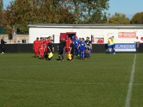 Walsall Wood played in their home strip, as their mascot for the day, Liam Jinks ,proudly accompanies the team the teams on to the pitch.