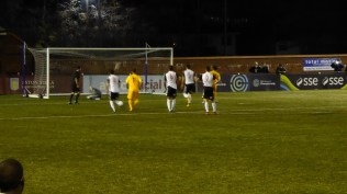 Later in the first half and a penalty.The pace has been electrifying. Goal, the only goal of the match, to the Wood