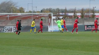 First half and Dronfield respond in a positive, well worked manner . Here, they come close to scoring