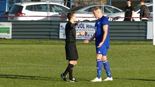 Quorn player asks to leave the pitch to have an eyebrow scraze dressed.