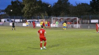Dronfield come so close to scoring, but to no avail as Wood's famous defence is up to the mark. It has to be.