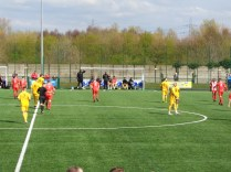 Bright sunshine, a stiff breeze and the proximity of the nearby treatment works underlined the match