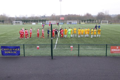 "Walsall Wood played in their yellow "" away"" strip this afternoon"