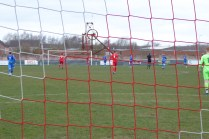 Nearly half time and a view from the goalmouth.