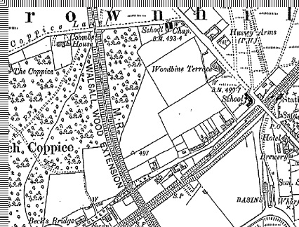 Fragment of 1901 OS map showing Coombe House and The Coppice, also the chapel and Central School, pre Hussey Estate.