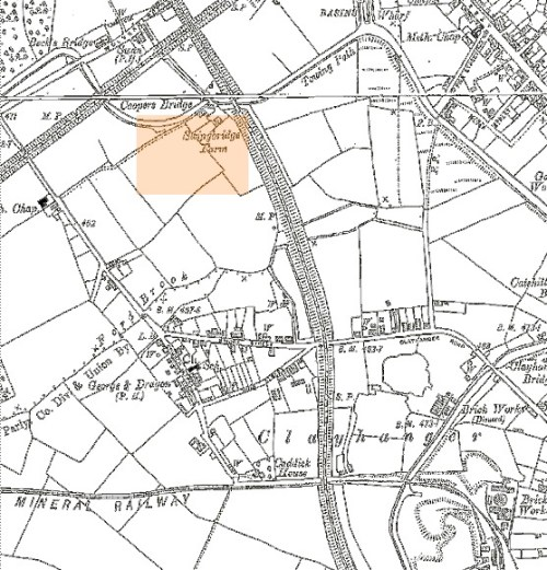 Clayhanger, from the Ordnance Survey 1901 edition. The highlighted area is Swingbridge Farm, the former Pig Farm